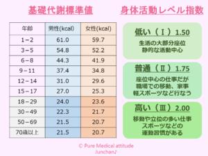 基礎代謝基準値と身体活動レベル指数