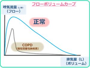 フローボリュームカーブ(正常とCOPDの例)
